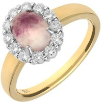 18ct Yellow Gold Blue John 0.41ct Diamond Oval Claw Cluster Ring