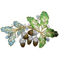 18ct Yellow Gold Diamond Enamel Acorn Brooch