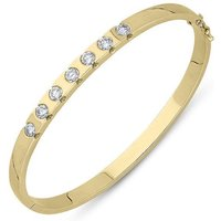 18ct Yellow Gold Diamond Seven Stone Hinged Bangle