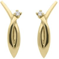 18ct Yellow Gold Diamond Shaped Earrings