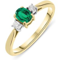 18ct Yellow Gold Emerald Diamond Claw Set Oval Ring