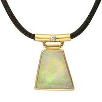18ct Yellow Gold Opal Diamond Unique Necklace