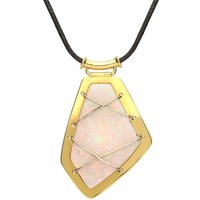 18ct Yellow Gold Opal Unique Abstract Wrap Over Necklace