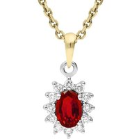 18ct Yellow Gold Ruby and Diamond Oval Cluster Necklace