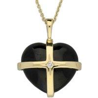 18ct Yellow Gold Whitby Jet Diamond Medium Cross Heart Necklace