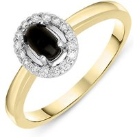 18ct Yellow Gold Whitby Jet 0.12ct Diamond Cluster Ring