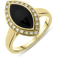 18ct Yellow Gold Whitby Jet Diamond Marquise Pave Ring