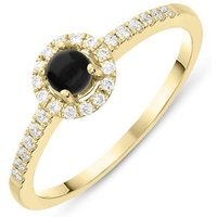 18ct Yellow Gold Whitby Jet 0.14ct Diamond Claw Set Round Centre Ring