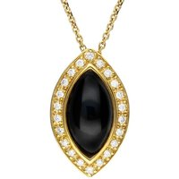 18ct Yellow Gold Whitby Jet 0.14ct Diamond Marquise Necklace