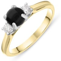 18ct Yellow Gold Whitby Jet 0.16ct Diamond Round Claw Set Ring