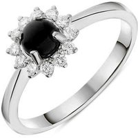 18ct White Gold Whitby Jet 0.18ct Diamond Round Cluster Ring