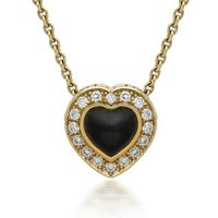 18ct Yellow Gold Whitby Jet 0.22ct Diamond Heart Shaped Necklace