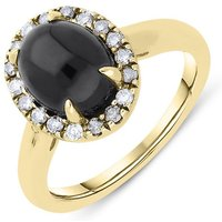 18ct Yellow Gold Whitby Jet 0.23ct Diamond Oval Ring