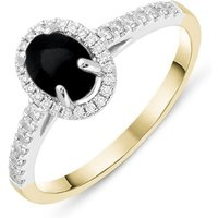 18ct Yellow Gold Whitby Jet 0.24ct Diamond Oval Ring