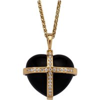 18ct Yellow Gold Whitby Jet 0.37ct Diamond Large Cross Heart Necklace