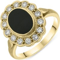 18ct Yellow Gold Whitby Jet 0.42ct Diamond Oval Ring