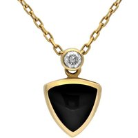 18ct Yellow Gold Whitby Jet Diamond Curved Triangle Necklace