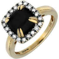 18ct Yellow Gold Whitby Jet  Diamond Cushion Claw Set Ring
