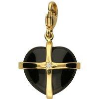 18ct Yellow Gold Whitby Jet Diamond Medium Cross Heart Charm