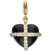 18ct Yellow Gold Whitby Jet 0.18ct Diamond Medium Cross Heart Charm