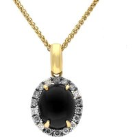 18ct Yellow Gold Whitby Jet Diamond Oval Claw Set Necklace