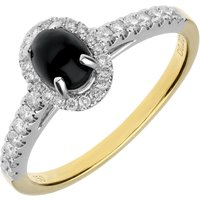 18ct Yellow Gold Whitby Jet Diamond Oval Ring