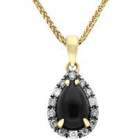 18ct Yellow Gold Whitby Jet Diamond Pear Claw Set Necklace