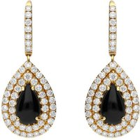 18ct Yellow Gold Whitby Jet Diamond Pear Drop Earrings