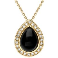 18ct Yellow Gold Whitby Jet 0.12ct Diamond Pear Pave Necklace