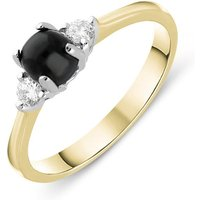 18ct Yellow Gold Whitby Jet Diamond Round Claw Set Ring