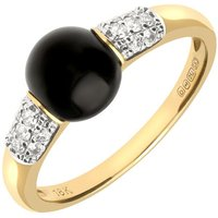 18ct Yellow Gold Whitby Jet 0.18ct Diamond Round Pave Shoulder Ring