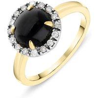 18ct Yellow Gold Whitby Jet Diamond Round Ring