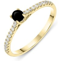 18ct Yellow Gold Whitby Jet Diamond Round Solitaire Ring
