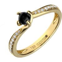 18ct Yellow Gold Whitby Jet Diamond Twist Solitaire Ring