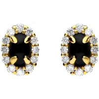 18ct Yellow Gold Whitby Jet 0.23ct Diamond Oval Earrings