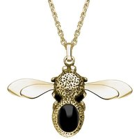 9ct Yellow Gold Whitby Jet Stone Set Body Bee Necklace