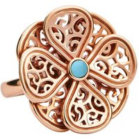 9ct Rose Gold Turquoise Flore Eight Petal Flower Ring