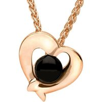 9ct Rose Gold Whitby Jet Abstract Heart Necklace