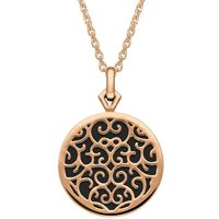 9ct Rose Gold Whitby Jet Flore Filigree Necklace