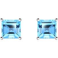 9ct White Gold Blue Topaz 5mm Princess Cut Claw Set Stud Earrings