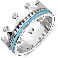 9ct White Gold Turquoise Diamond Tiara Patterned Band Ring