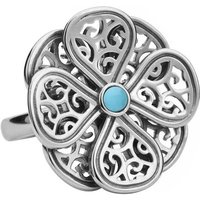 9ct White Gold Turquoise Flore Eight Petal Flower Ring