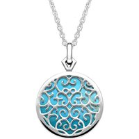 9ct White Gold Turquoise Flore Filigree Necklace