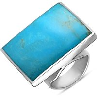 9ct White Gold Turquoise Large Square Ring
