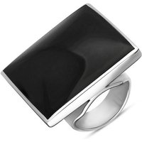 9ct White Gold Whitby Jet Large Square Ring