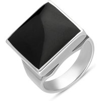 9ct White Gold Whitby Jet Small Square Ring