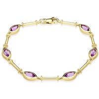 9ct Yellow Gold Amethyst Faceted Marquise Bracelet