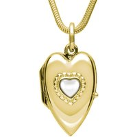 9ct Yellow Gold Bauxite Beaded Edge Heart Locket Necklace