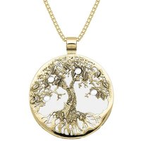 9ct Yellow Gold Bauxite Large Round Tree Of Life Necklace