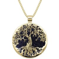9ct Yellow Gold Blue Goldstone Large Round Tree Of Life Necklace